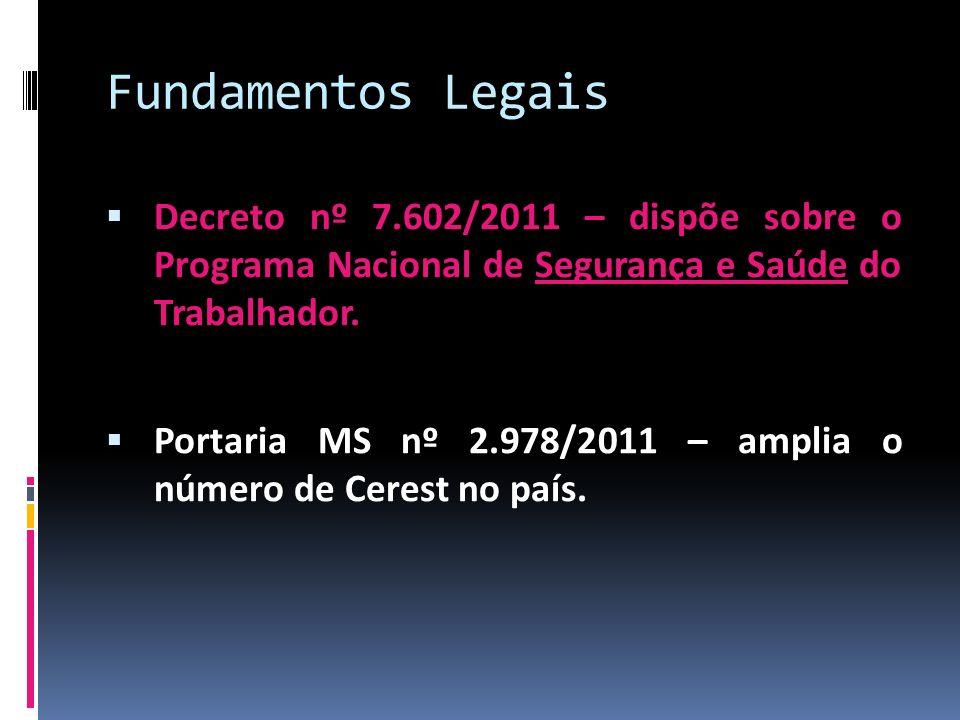 Fundamentos Legais Decreto nº 7.602/2011 – dispõe sobre o Programa Nacional de Segurança e Saúde do Trabalhador. Portaria MS nº 2.978/2011 – amplia o