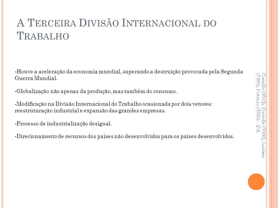 A T ERCEIRA D IVISÃO I NTERNACIONAL DO T RABALHO Camilla (9512), Danielle (7300), Larissa (7400), Patrícia (7556) - 2ºA -Houve a aceleração da economi