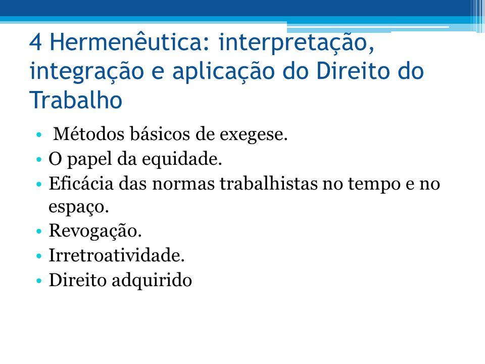 4 Hermenêutica: interpretação, integração e aplicação do Direito do Trabalho Métodos básicos de exegese. O papel da equidade. Eficácia das normas trab