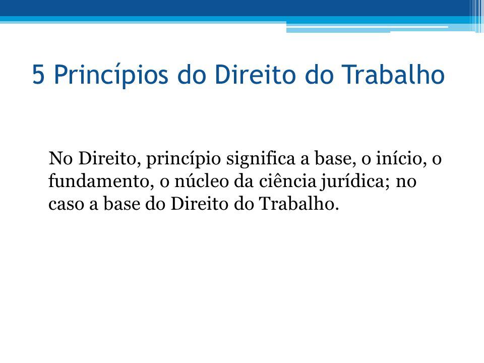 5 Princípios do Direito do Trabalho No Direito, princípio significa a base, o início, o fundamento, o núcleo da ciência jurídica; no caso a base do Di