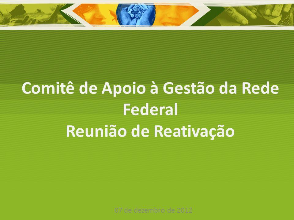 Comitê de Apoio à Gestão da Rede Federal Instituído em 2009; Definição pela reativação do Comitê; Composição atual: – FORPLAN – FORPLAD – SESu – SETEC – FNDE – EBSERH SPO – SE ( Gabinete, DTI, SAA e SPO)