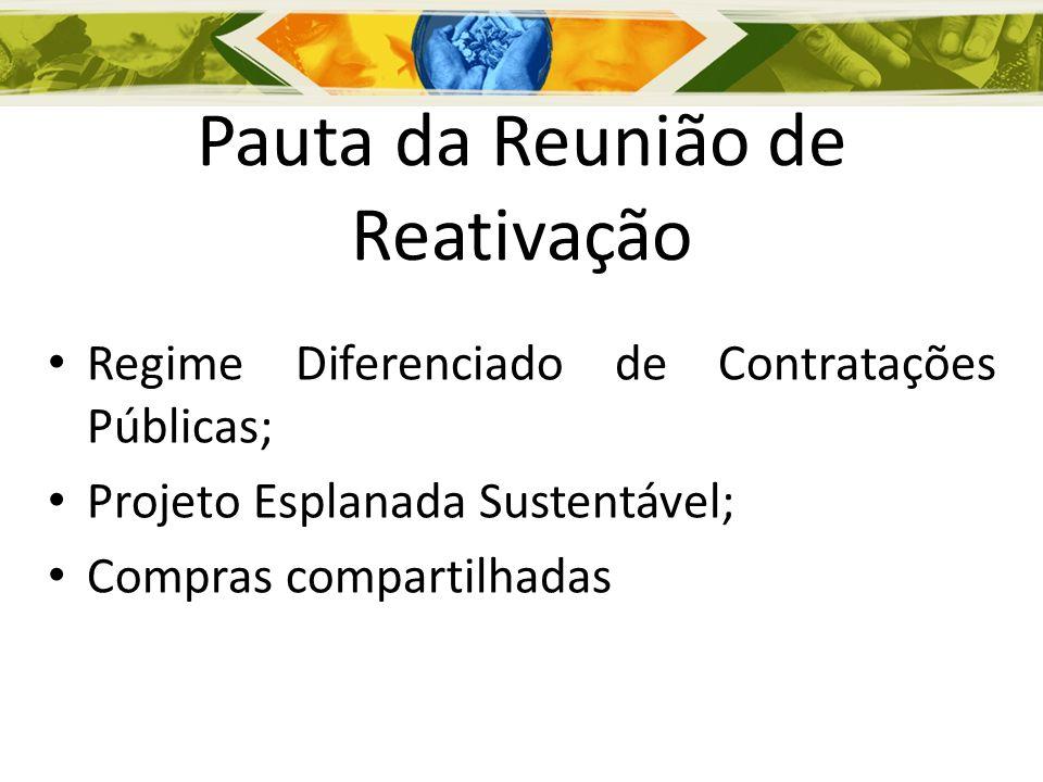 Pauta da Reunião de Reativação Regime Diferenciado de Contratações Públicas; Projeto Esplanada Sustentável; Compras compartilhadas