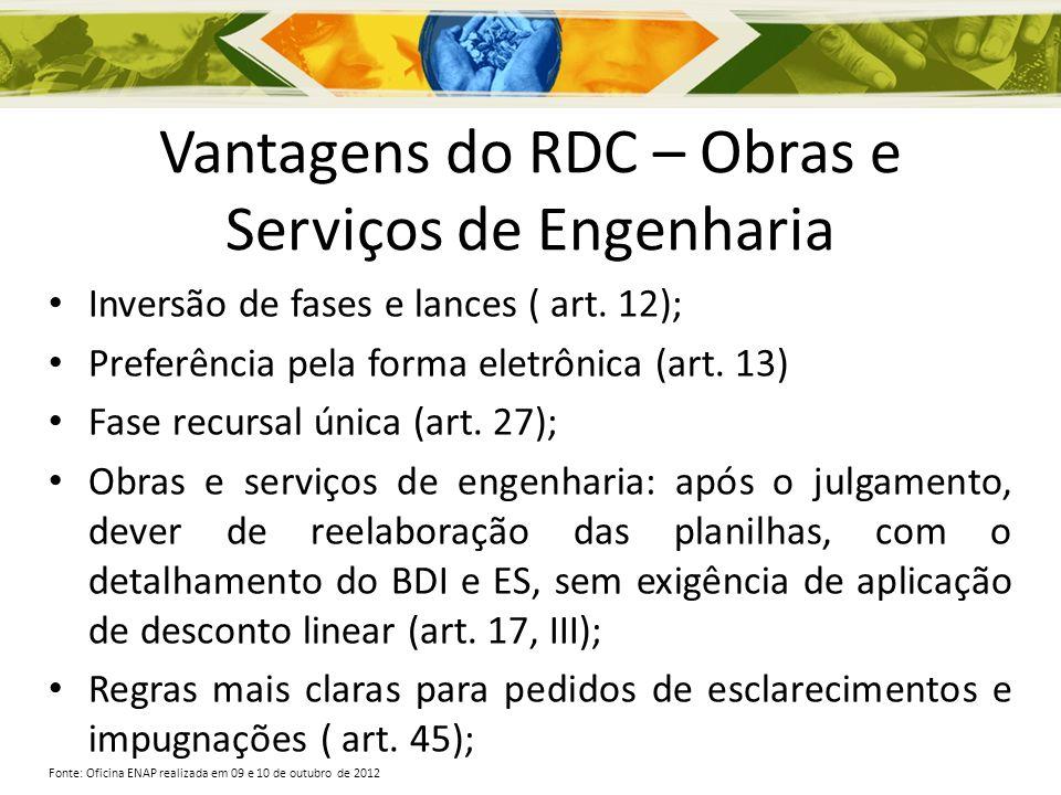 Vantagens do RDC – Obras e Serviços de Engenharia Inversão de fases e lances ( art. 12); Preferência pela forma eletrônica (art. 13) Fase recursal úni
