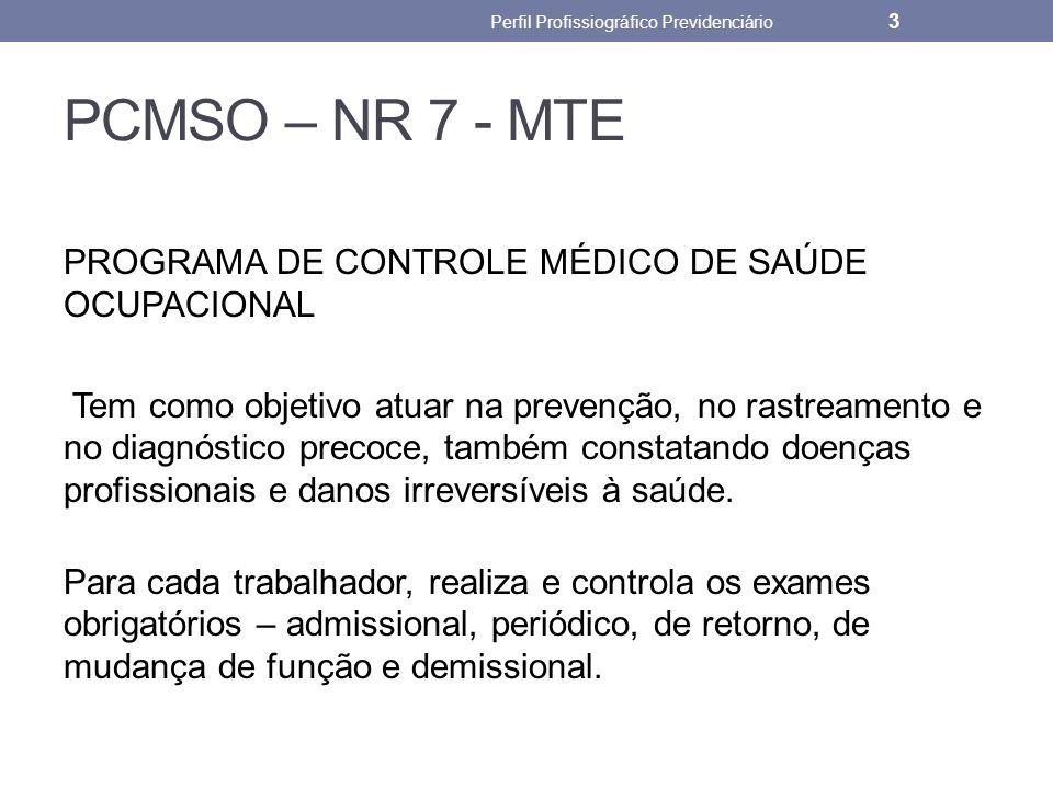 PCMSO – NR 7 - MTE PROGRAMA DE CONTROLE MÉDICO DE SAÚDE OCUPACIONAL Tem como objetivo atuar na prevenção, no rastreamento e no diagnóstico precoce, ta