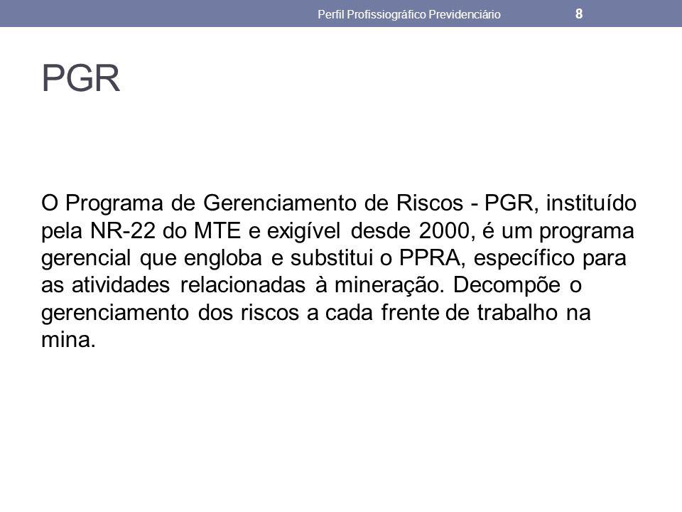 PGR O Programa de Gerenciamento de Riscos - PGR, instituído pela NR-22 do MTE e exigível desde 2000, é um programa gerencial que engloba e substitui o