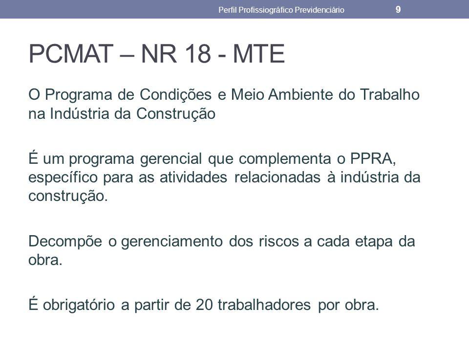 PCMAT – NR 18 - MTE O Programa de Condições e Meio Ambiente do Trabalho na Indústria da Construção É um programa gerencial que complementa o PPRA, esp