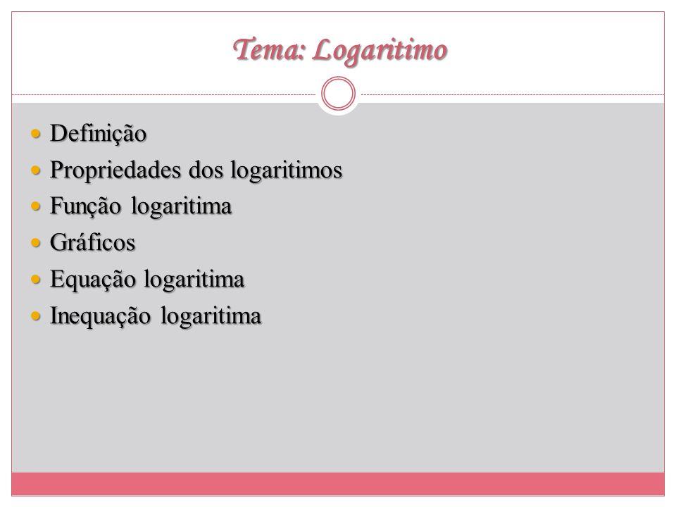 Tema: Logaritimo Definição Definição Propriedades dos logaritimos Propriedades dos logaritimos Função logaritima Função logaritima Gráficos Gráficos E