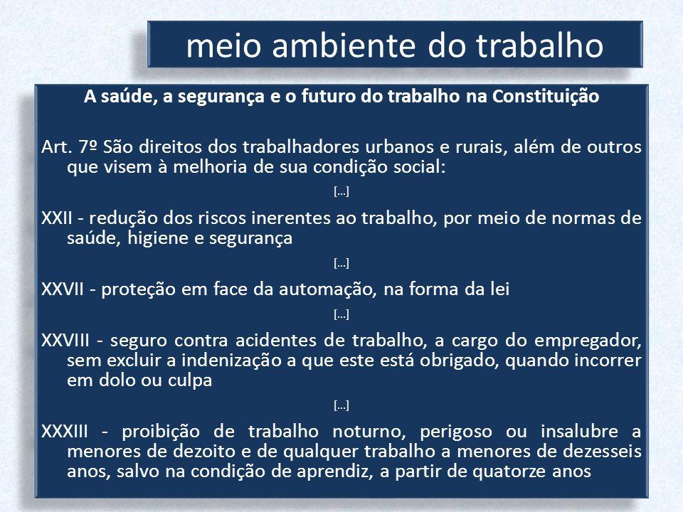 meio ambiente do trabalho A saúde, a segurança e o futuro do trabalho na Constituição Art. 7º São direitos dos trabalhadores urbanos e rurais, além de