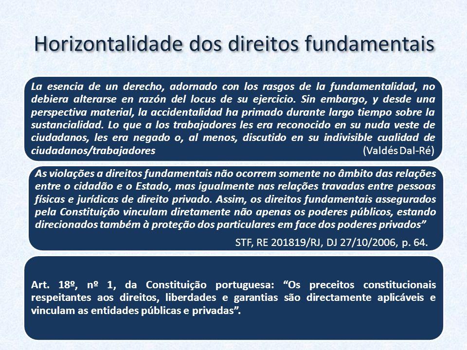 Horizontalidade dos direitos fundamentais La esencia de un derecho, adornado con los rasgos de la fundamentalidad, no debiera alterarse en razón del l