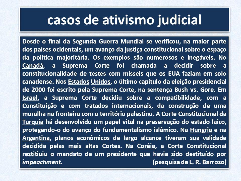 casos de ativismo judicial Desde o final da Segunda Guerra Mundial se verificou, na maior parte dos países ocidentais, um avanço da justiça constituci
