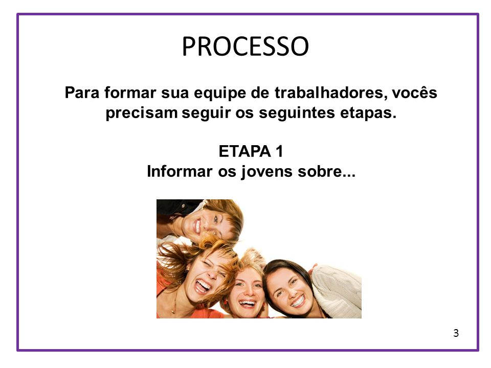 PROCESSO Para formar sua equipe de trabalhadores, vocês precisam seguir os seguintes etapas. ETAPA 1 Informar os jovens sobre... 3