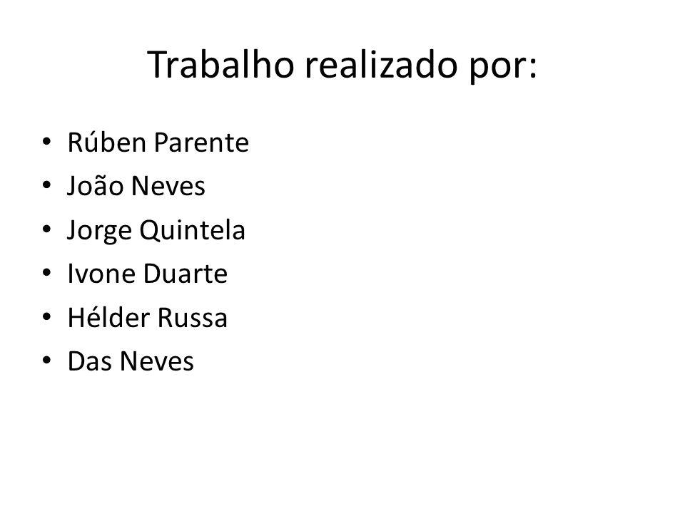 Trabalho realizado por: Rúben Parente João Neves Jorge Quintela Ivone Duarte Hélder Russa Das Neves