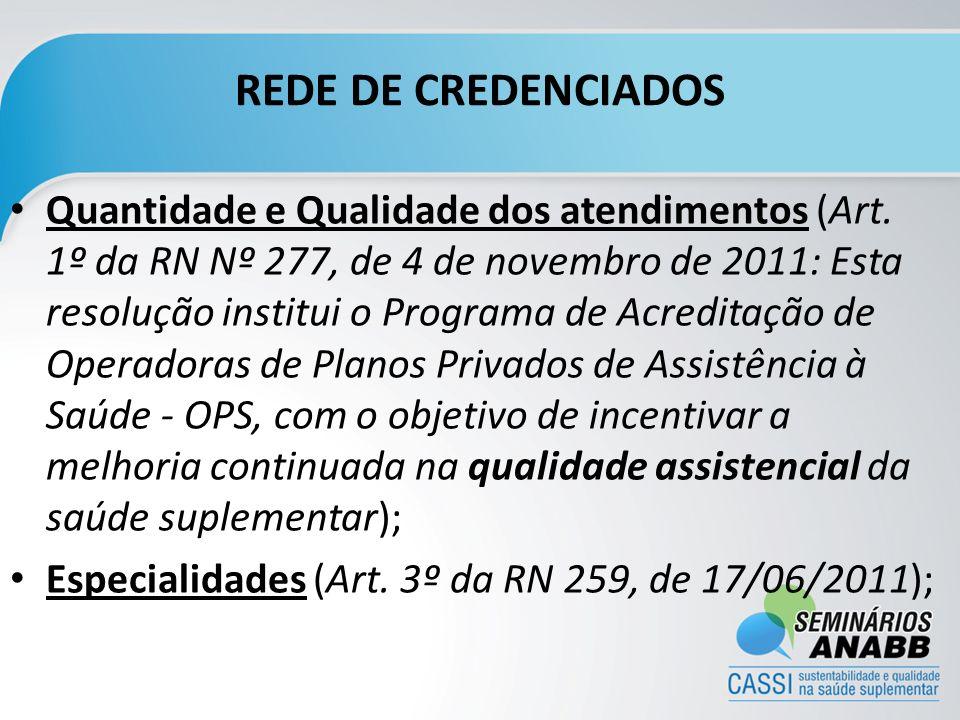REDE DE CREDENCIADOS Quantidade e Qualidade dos atendimentos (Art. 1º da RN Nº 277, de 4 de novembro de 2011: Esta resolução institui o Programa de Ac