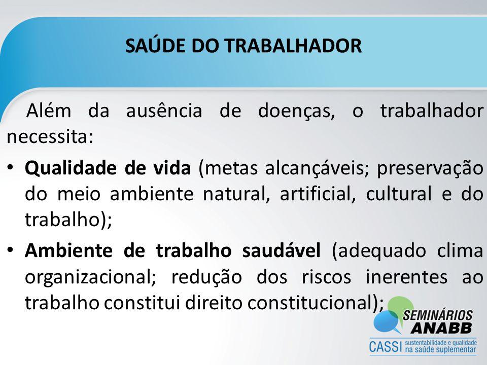 SAÚDE DO TRABALHADOR Além da ausência de doenças, o trabalhador necessita: Qualidade de vida (metas alcançáveis; preservação do meio ambiente natural,