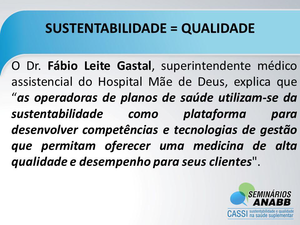 SUSTENTABILIDADE = QUALIDADE O Dr. Fábio Leite Gastal, superintendente médico assistencial do Hospital Mãe de Deus, explica queas operadoras de planos