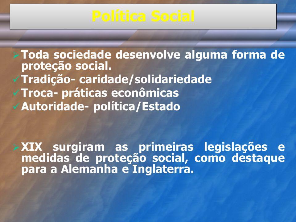 Política Social Toda sociedade desenvolve alguma forma de proteção social. Tradição- caridade/solidariedade Troca- práticas econômicas Autoridade- pol