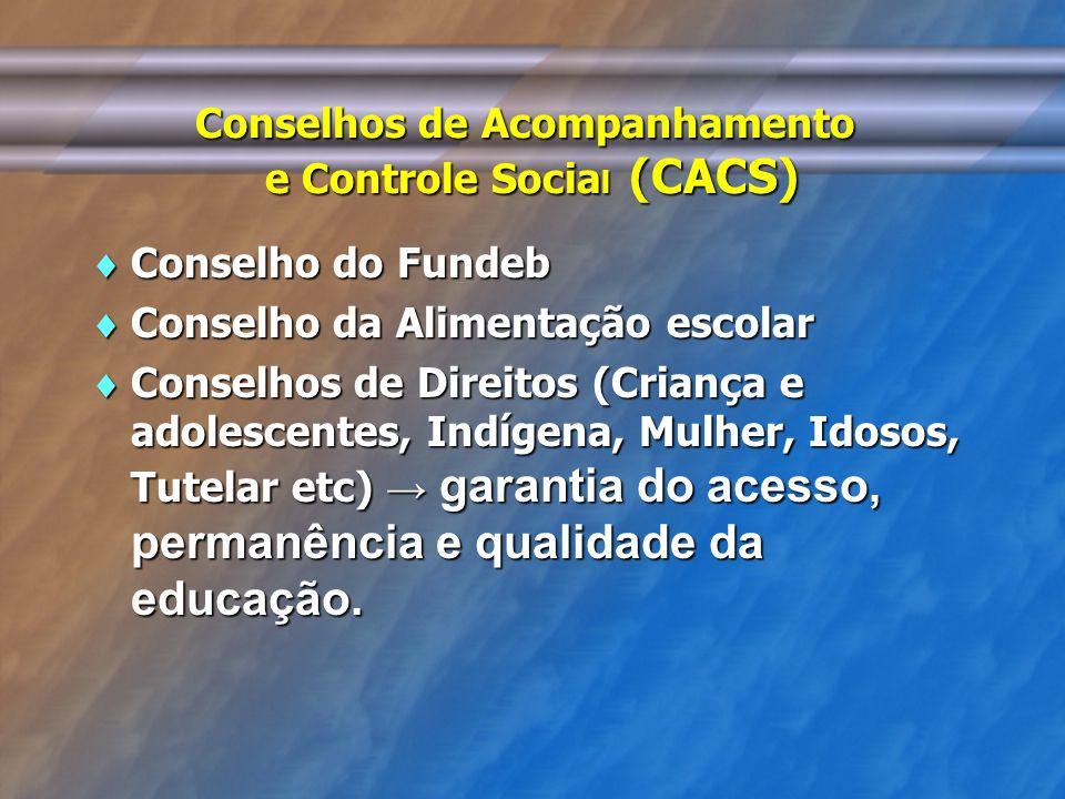 Conselhos de Acompanhamento e Controle Socia l (CACS) Conselho do Fundeb Conselho do Fundeb Conselho da Alimentação escolar Conselho da Alimentação es
