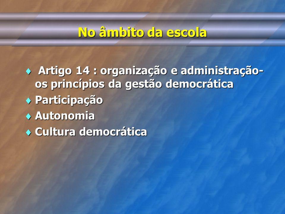 No âmbito da escola Artigo 14 : organização e administração- os princípios da gestão democrática Artigo 14 : organização e administração- os princípio