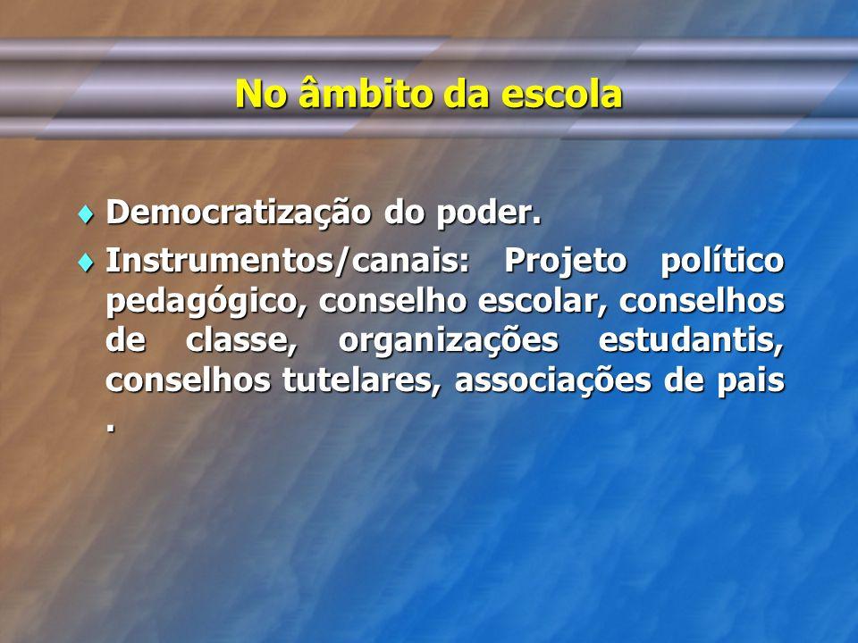 No âmbito da escola Democratização do poder. Democratização do poder. Instrumentos/canais: Projeto político pedagógico, conselho escolar, conselhos de