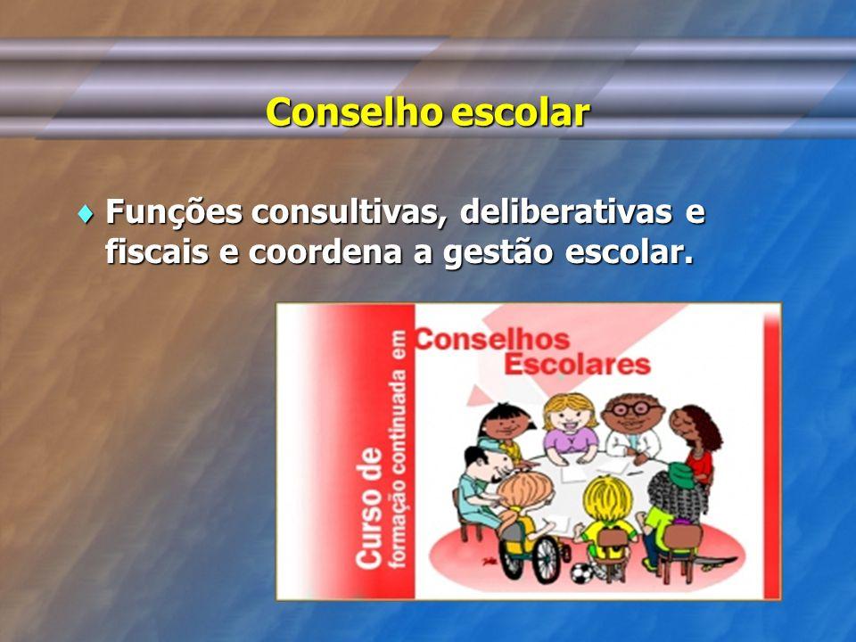 Conselho escolar Funções consultivas, deliberativas e fiscais e coordena a gestão escolar. Funções consultivas, deliberativas e fiscais e coordena a g