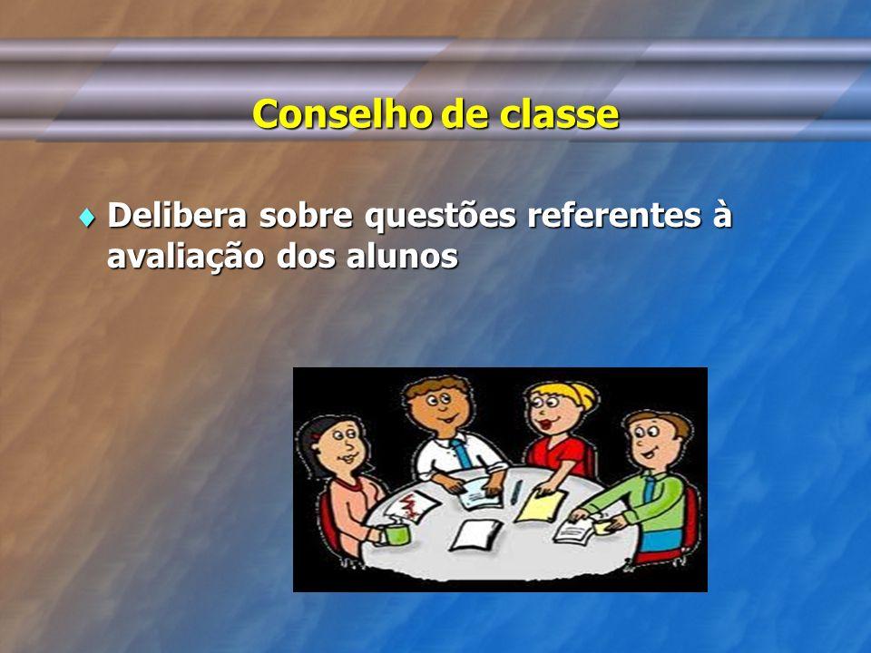 Conselho de classe Delibera sobre questões referentes à avaliação dos alunos Delibera sobre questões referentes à avaliação dos alunos