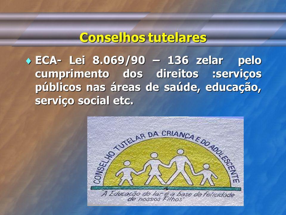 Conselhos tutelares ECA- Lei 8.069/90 – 136 zelar pelo cumprimento dos direitos :serviços públicos nas áreas de saúde, educação, serviço social etc. E