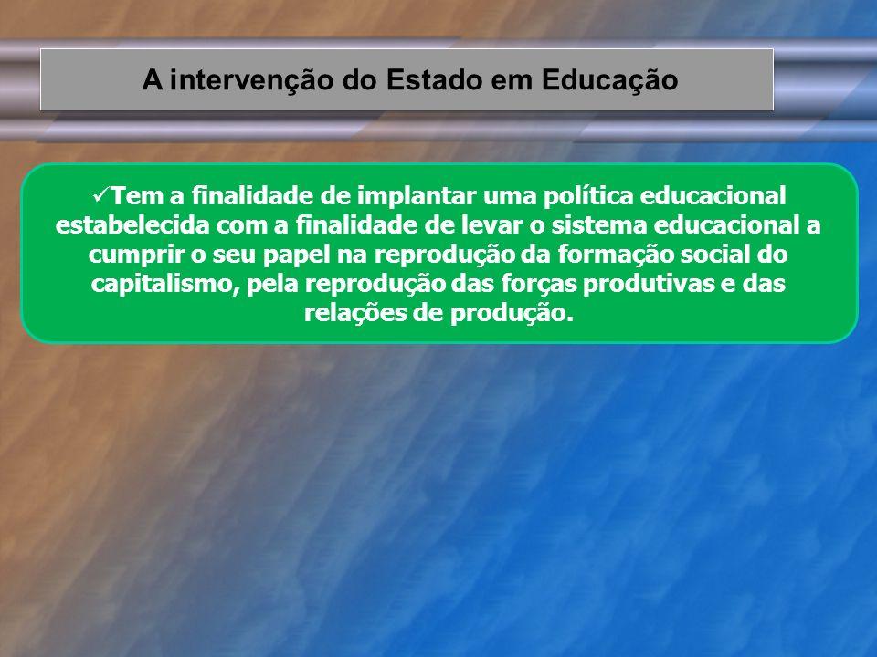 Tem a finalidade de implantar uma política educacional estabelecida com a finalidade de levar o sistema educacional a cumprir o seu papel na reproduçã