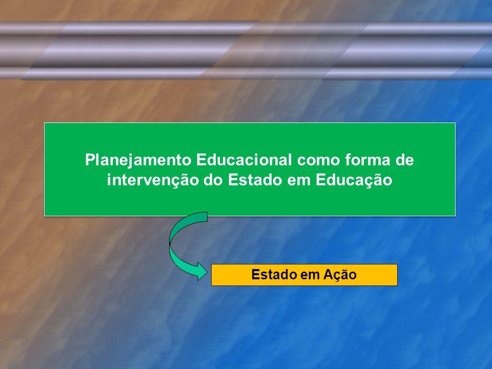 Planejamento Educacional como forma de intervenção do Estado em Educação Estado em Ação