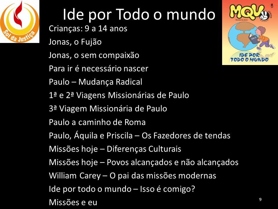 Ide por Todo o mundo Crianças: 9 a 14 anos Jonas, o Fujão Jonas, o sem compaixão Para ir é necessário nascer Paulo – Mudança Radical 1ª e 2ª Viagens M