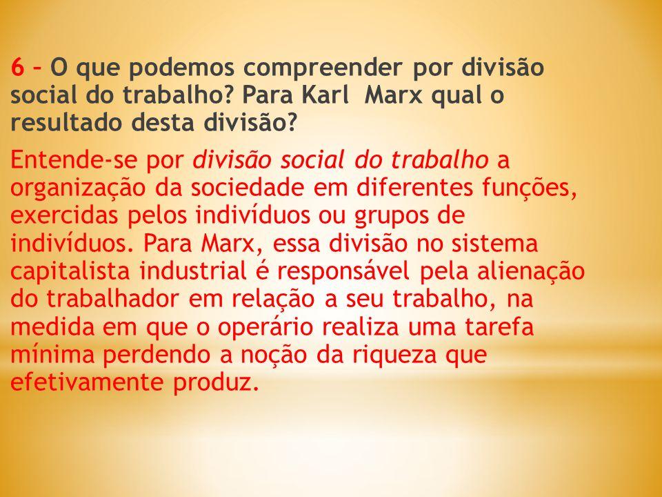 6 – O que podemos compreender por divisão social do trabalho? Para Karl Marx qual o resultado desta divisão? Entende-se por divisão social do trabalho