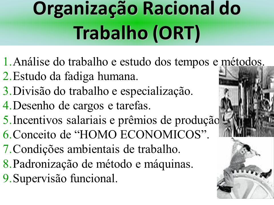 Organização Racional do Trabalho (ORT) 1.Análise do trabalho e estudo dos tempos e métodos. 2.Estudo da fadiga humana. 3.Divisão do trabalho e especia