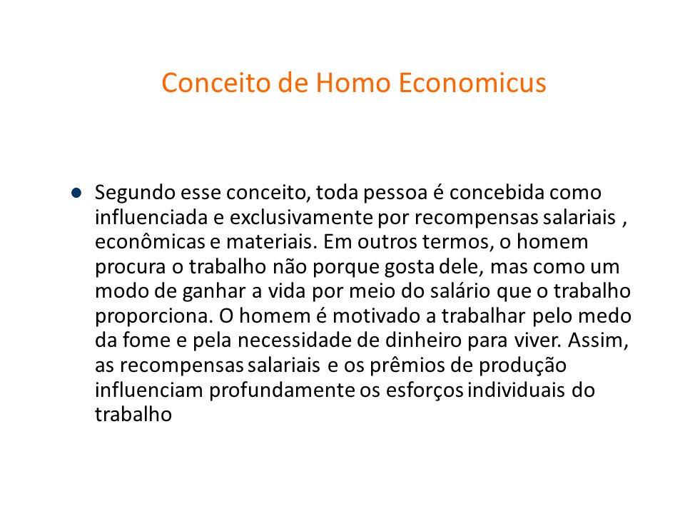 Conceito de Homo Economicus Segundo esse conceito, toda pessoa é concebida como influenciada e exclusivamente por recompensas salariais, econômicas e