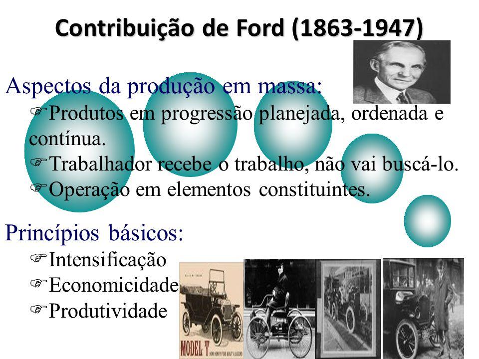 Contribuição de Ford (1863-1947) Aspectos da produção em massa: Produtos em progressão planejada, ordenada e contínua. Trabalhador recebe o trabalho,