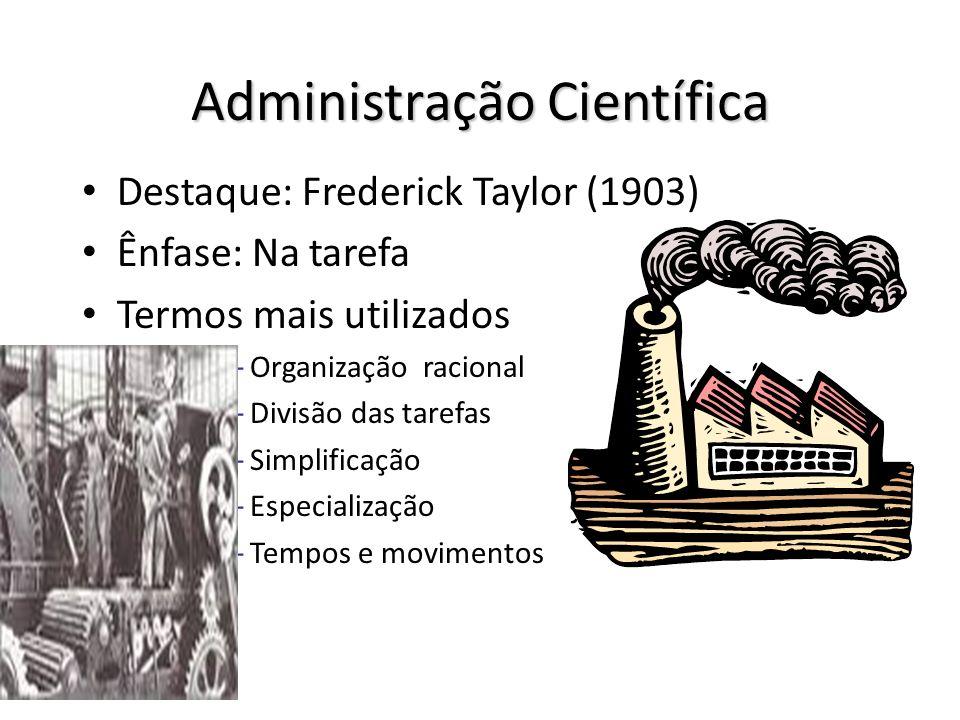 Administração Científica Destaque: Frederick Taylor (1903) Ênfase: Na tarefa Termos mais utilizados – Organização racional – Divisão das tarefas – Sim