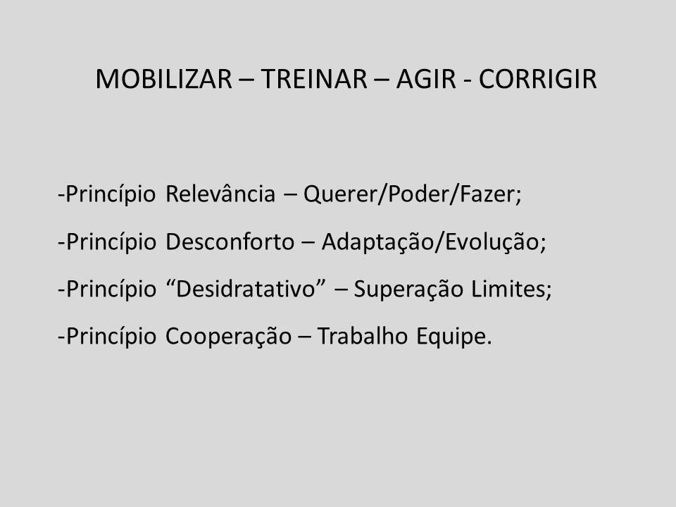MOBILIZAR – TREINAR – AGIR - CORRIGIR -Princípio Relevância – Querer/Poder/Fazer; -Princípio Desconforto – Adaptação/Evolução; -Princípio Desidratativ