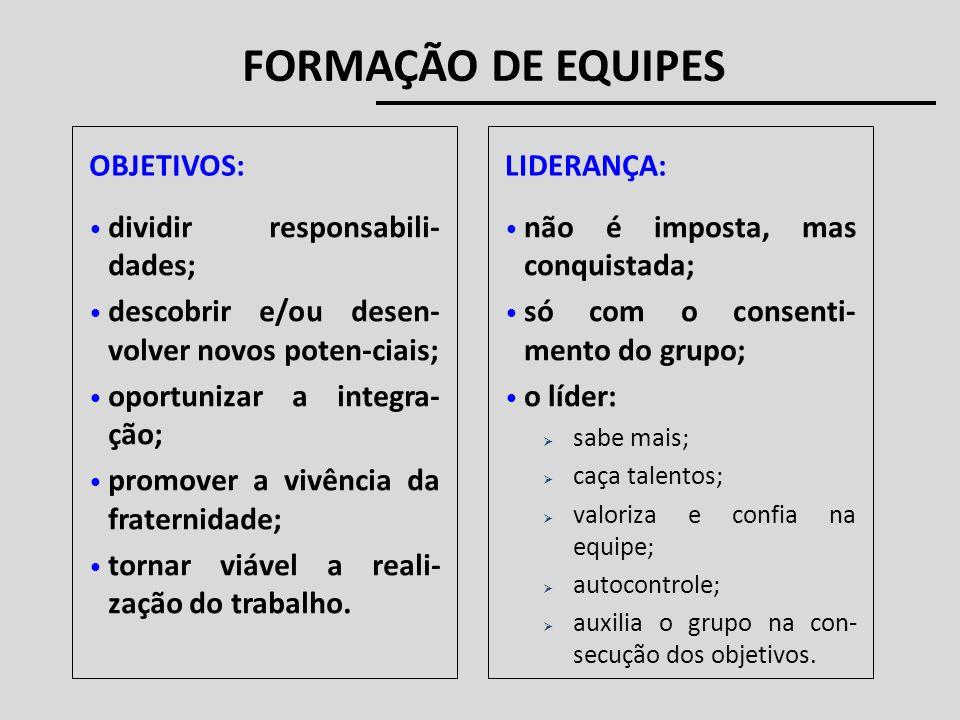 FORMAÇÃO DE EQUIPES dividir responsabili- dades; descobrir e/ou desen- volver novos poten-ciais; oportunizar a integra- ção; promover a vivência da fr