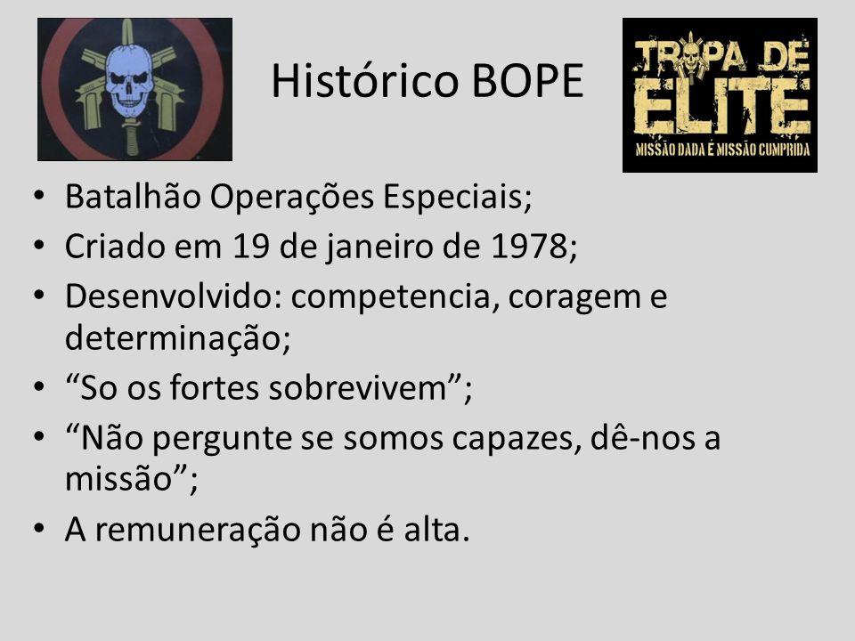 Histórico BOPE Batalhão Operações Especiais; Criado em 19 de janeiro de 1978; Desenvolvido: competencia, coragem e determinação; So os fortes sobreviv