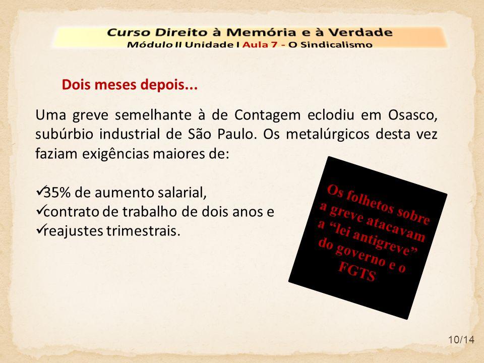 10/14 Uma greve semelhante à de Contagem eclodiu em Osasco, subúrbio industrial de São Paulo. Os metalúrgicos desta vez faziam exigências maiores de: