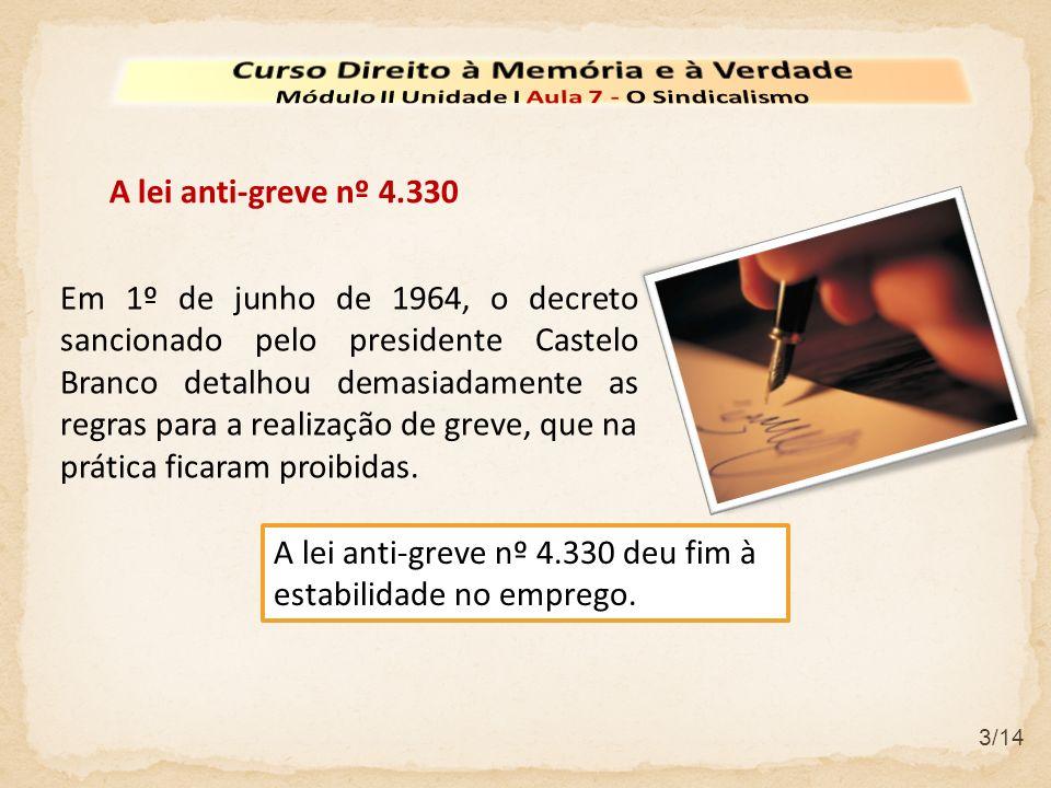 3/14 A lei anti-greve nº 4.330 Em 1º de junho de 1964, o decreto sancionado pelo presidente Castelo Branco detalhou demasiadamente as regras para a re