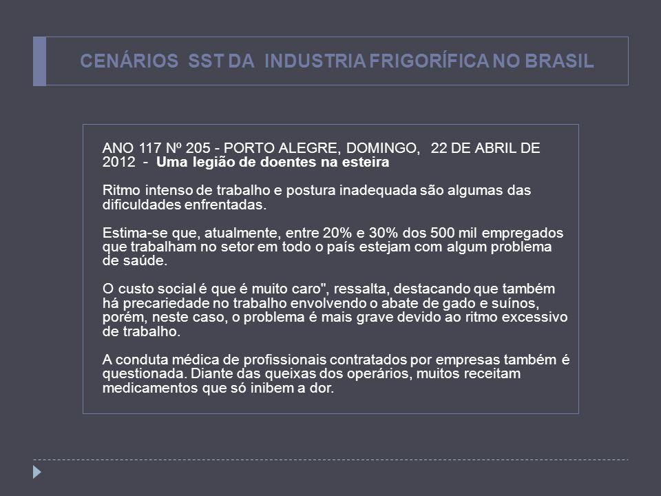CENÁRIOS SST DA INDUSTRIA FRIGORÍFICA NO BRASIL ANO 117 Nº 205 - PORTO ALEGRE, DOMINGO, 22 DE ABRIL DE 2012 - Uma legião de doentes na esteira Ritmo i