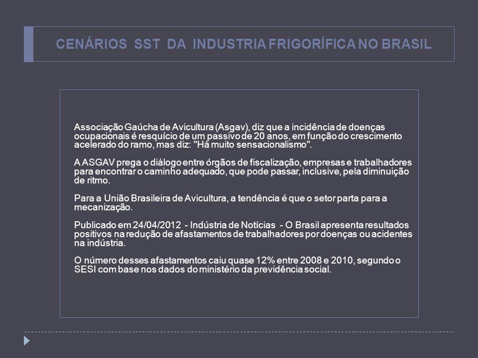 CENÁRIOS SST DA INDUSTRIA FRIGORÍFICA NO BRASIL Associação Gaúcha de Avicultura (Asgav), diz que a incidência de doenças ocupacionais é resquício de u