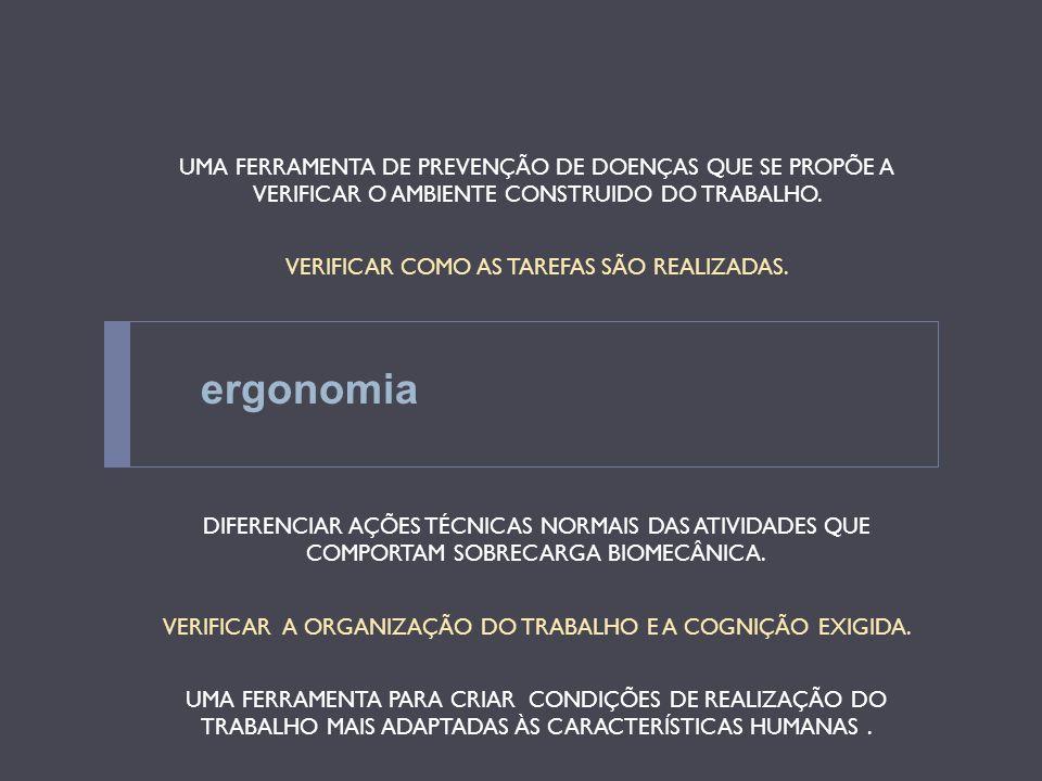 ergonomia UMA FERRAMENTA DE PREVENÇÃO DE DOENÇAS QUE SE PROPÕE A VERIFICAR O AMBIENTE CONSTRUIDO DO TRABALHO. VERIFICAR COMO AS TAREFAS SÃO REALIZADAS