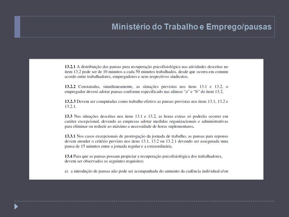 Ministério do Trabalho e Emprego/pausas
