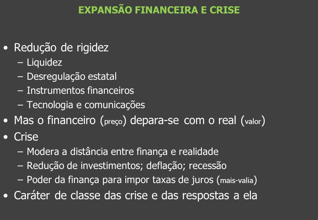 Redução de rigidez –Liquidez –Desregulação estatal –Instrumentos financeiros –Tecnologia e comunicações Mas o financeiro ( preço ) depara-se com o rea