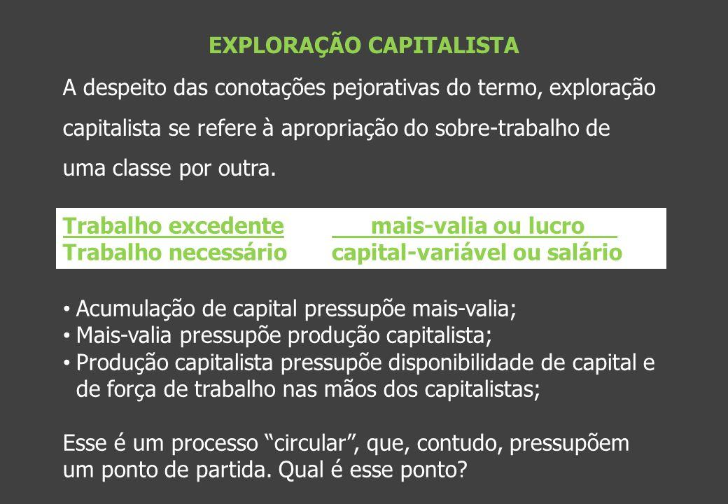 EXPLORAÇÃO CAPITALISTA A despeito das conotações pejorativas do termo, exploração capitalista se refere à apropriação do sobre-trabalho de uma classe