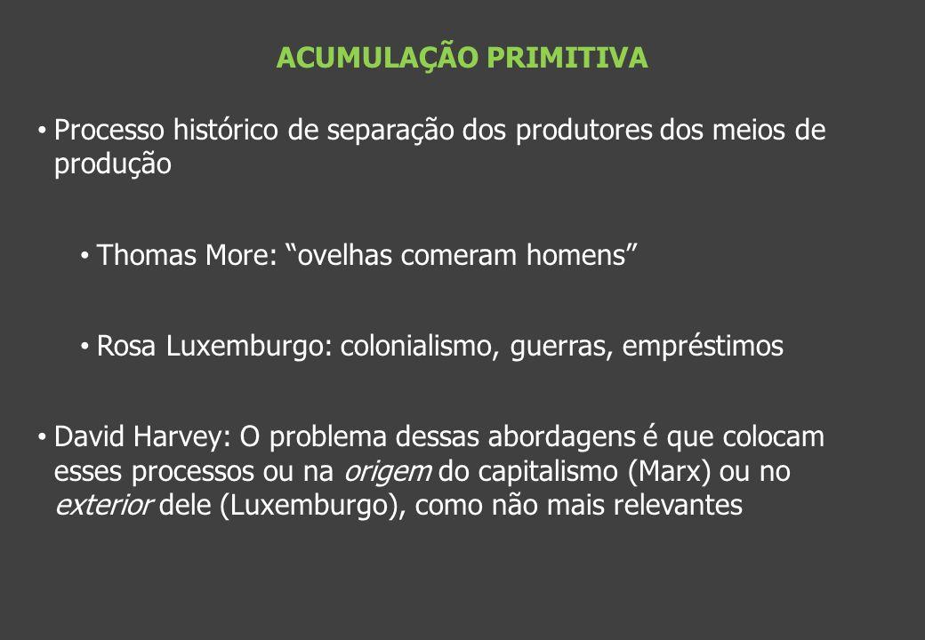 ACUMULAÇÃO PRIMITIVA Processo histórico de separação dos produtores dos meios de produção Thomas More: ovelhas comeram homens Rosa Luxemburgo: colonia