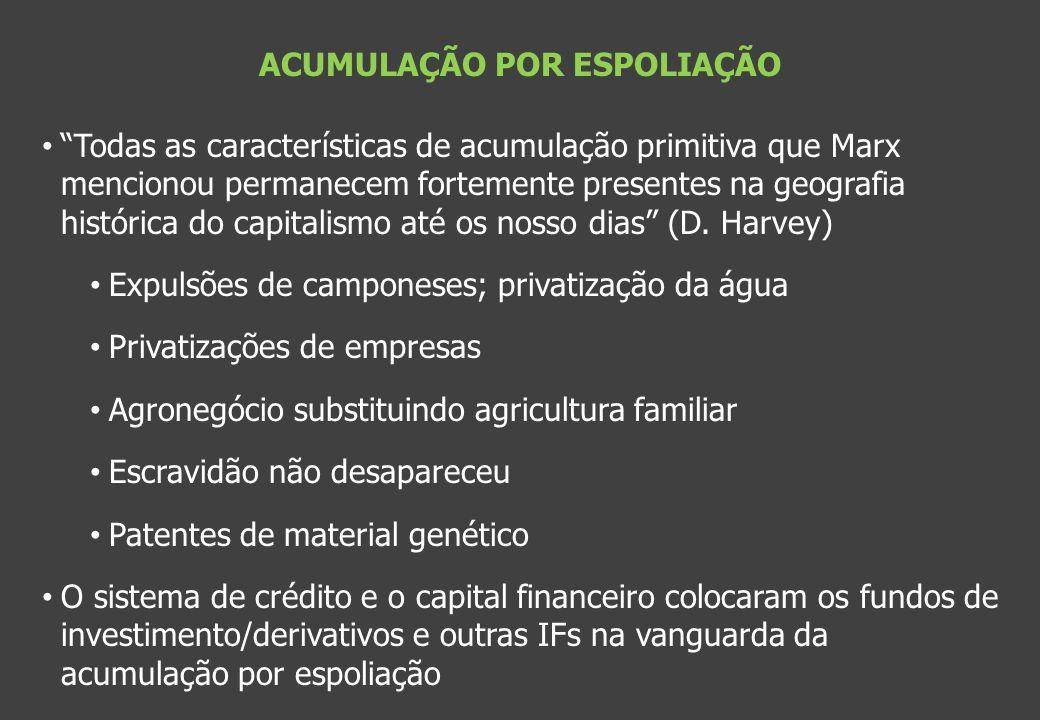 ACUMULAÇÃO POR ESPOLIAÇÃO Todas as características de acumulação primitiva que Marx mencionou permanecem fortemente presentes na geografia histórica d