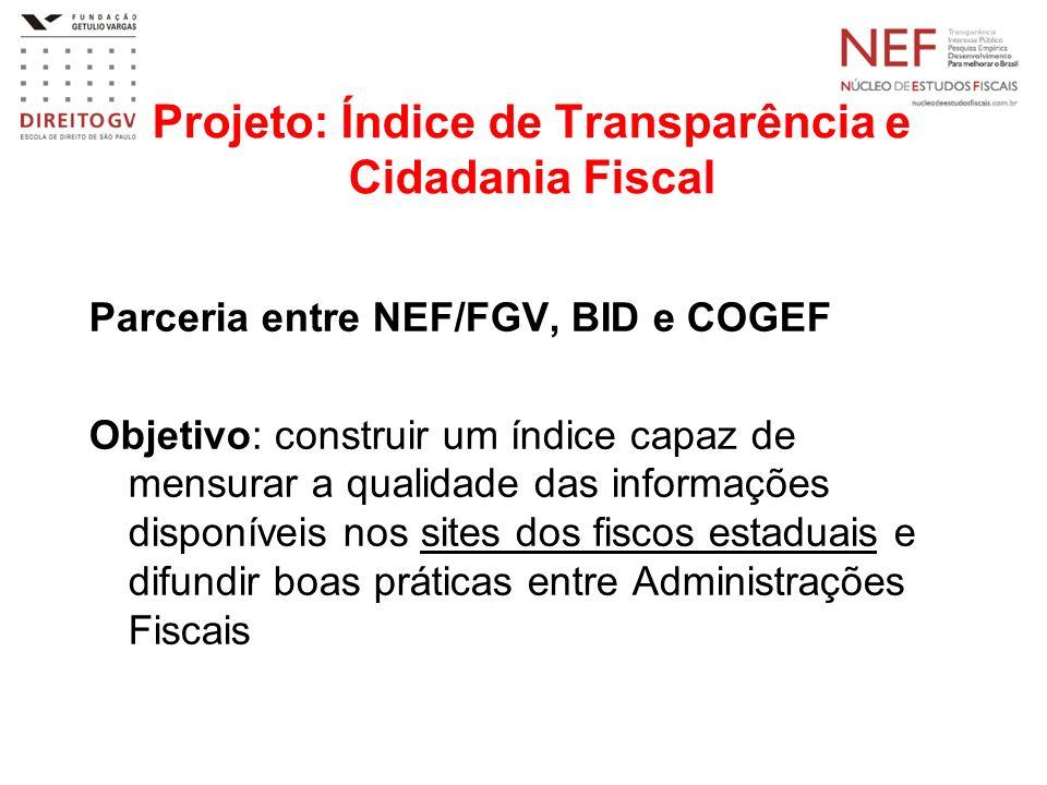 Projeto: Índice de Transparência e Cidadania Fiscal Parceria entre NEF/FGV, BID e COGEF Objetivo: construir um índice capaz de mensurar a qualidade da