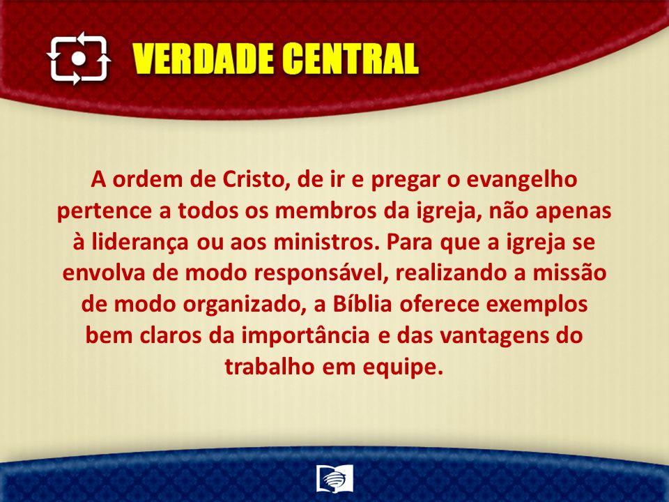 A ordem de Cristo, de ir e pregar o evangelho pertence a todos os membros da igreja, não apenas à liderança ou aos ministros. Para que a igreja se env