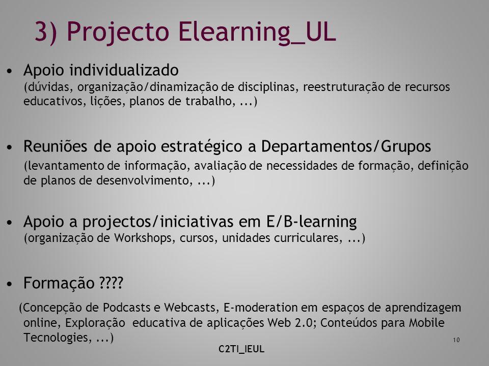 3) Projecto Elearning_UL Apoio individualizado (dúvidas, organização/dinamização de disciplinas, reestruturação de recursos educativos, lições, planos de trabalho,...) Reuniões de apoio estratégico a Departamentos/Grupos (levantamento de informação, avaliação de necessidades de formação, definição de planos de desenvolvimento,...) Apoio a projectos/iniciativas em E/B-learning (organização de Workshops, cursos, unidades curriculares,...) Formação ???.